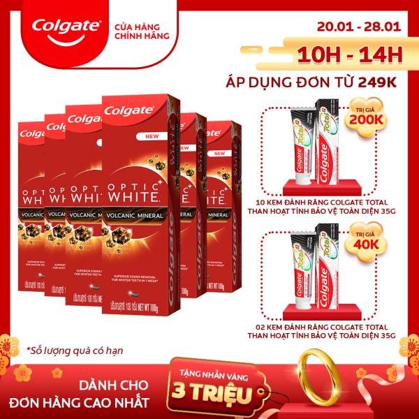 Bộ 6 kem đánh răng làm trắng sáng Colgate Optic White từ khoáng núi lửa Hàn Quốc 100g nhập khẩu