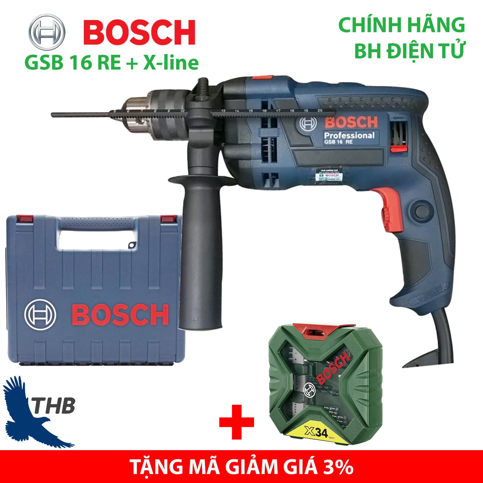 Máy khoan gia đình Máy khoan động lực Bosch GSB 16 RE tặng Xline 34 Xuất xứ Malaysia Bảo hành 12 tháng