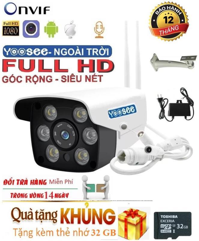 (Tặng Thẻ nhớ Chuẩn 32 GB,Bảo Hành 12 tháng)Camera Wifi Trong nhà-ngoài trời Yoosee ZQ26-2.0Mpx- FULL HD - hỗ trợ 2 đèn hồng ngoại và 4 đèn LED xem đêm có Màu Cực Nét