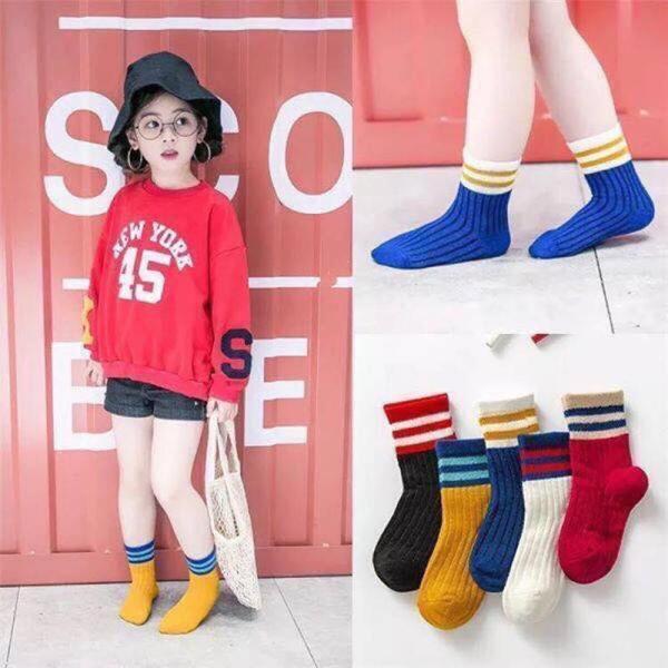 Giá bán Set 5 đôi tất (vớ) cổ cao phong cách Hàn Quốc cho bé từ 1 tuổi - 8 tuổi (có túi zip)