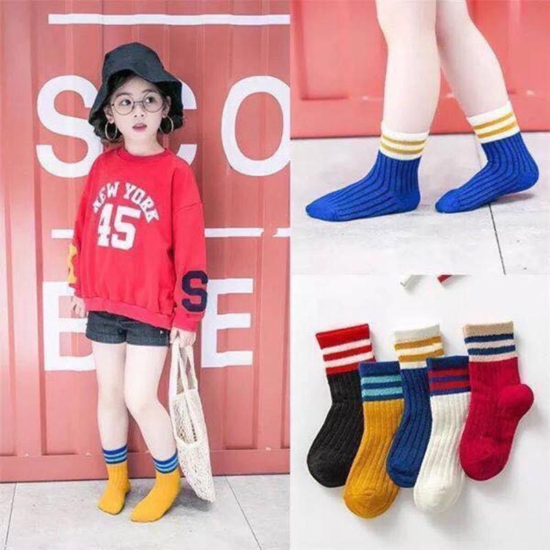 Set 5 đôi tất (vớ) cổ cao phong cách Hàn Quốc cho bé từ 1 tuổi - 8 tuổi (có túi zip)