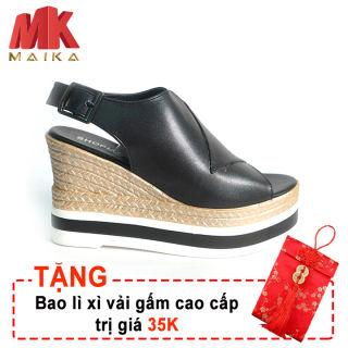 Giày đế xuồng nữ Hàn Quốc MK MAIKA cao 10 phân S1075 Đen bền, đẹp, thời trang + Tặng bao lì xì vải gấm cao cấp