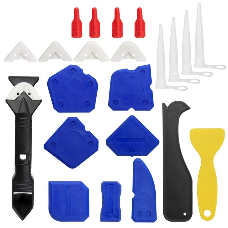 23 Pieces Caulking Tool Kit, 3 In 1 Caulking Tools Silicone Sealant Finishing Tool Grout Scraper Caulk Remover And Caulk Nozzle And Caulk Caps 3 Replaceable Pads.