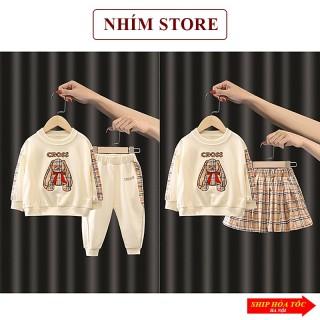 Quần áo trẻ em thu đông dài tay cho bé gái bé trai 6 - 19kg 5 tuổi mặc nhà chất cotton gấu Cross thumbnail