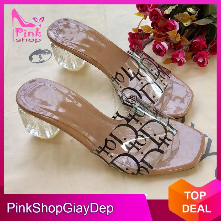 (Có mã miễn ship) Dép nữ quai ngang, giày nữ PinkShopGiayDep đế vuông cao 5 phân quai trong phối chữ thời trang giá rẻ
