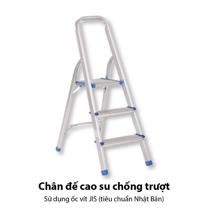 Thang ghế Oshima TG3, 3 STEPS - 3 bậc xếp gọn – Thang nhôm gấp chữ A nặng bền chắc, chân cao su trống trượt.