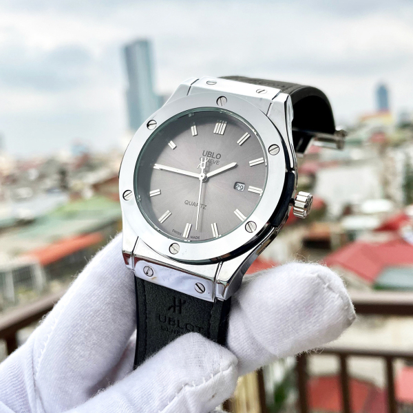 Đồng hồ nam UBLO dây da và mặt đồng hồ màu xám khói ( Tặng 2 PIN dự phòng + Thẻ Điện Thoại ) bán chạy
