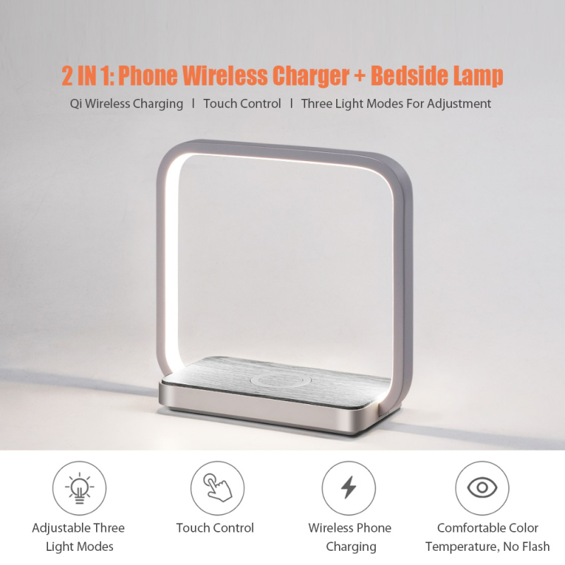 Xiaomi Youpin Huaqu Phone Wireless Charger Bedside Lamp Touch Control Three Light Modes Qi Wireless Charger For HUAWEI iPhone Xiaomi Samsung