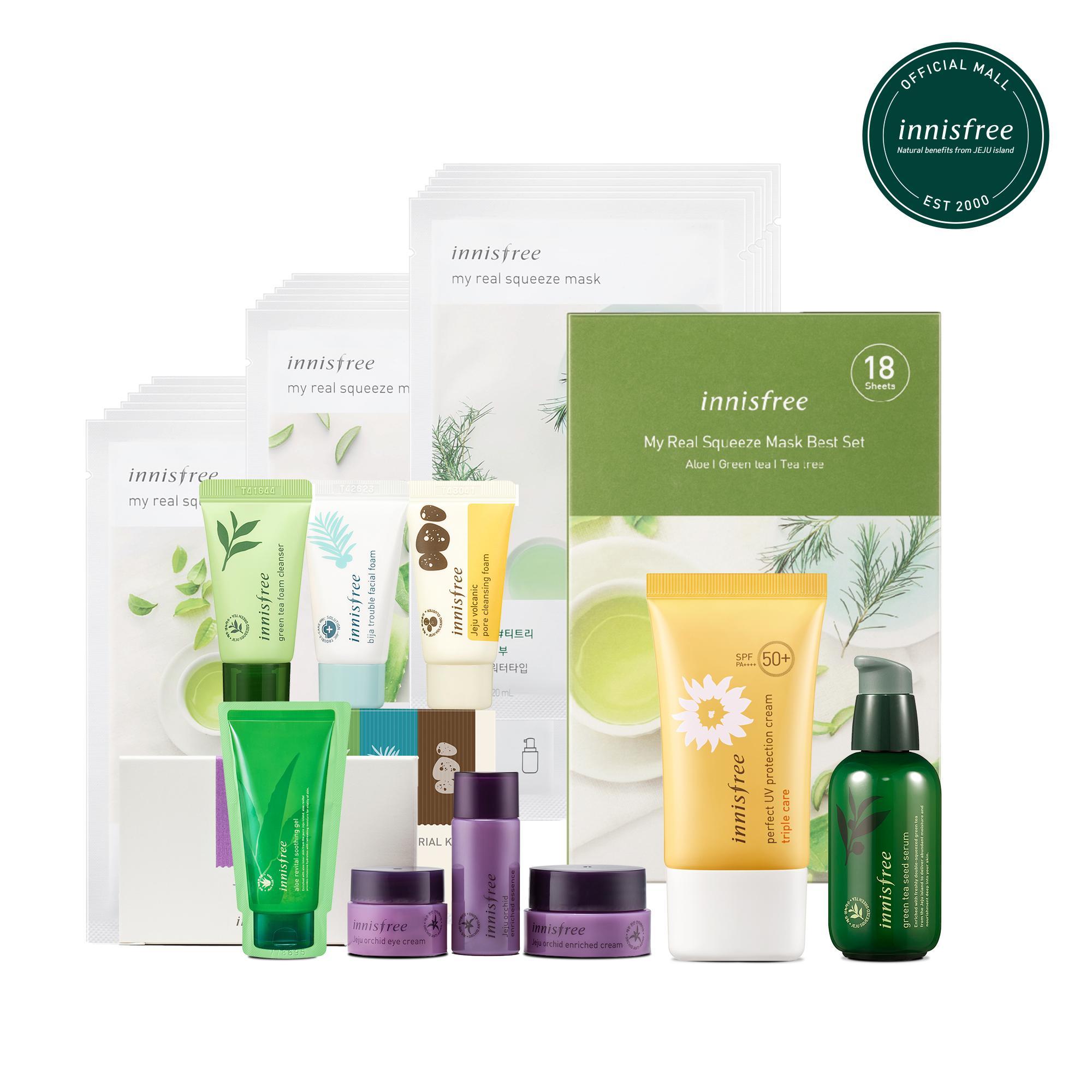 Bộ sản phẩm chăm sóc dưỡng ẩm chống nắng toàn diện Innisfree Green Tea Seed Serum 80ml + Innisfree My Real Squeeze Mask Set 20ml*18 + Innisfree Perfect UV Protection Cream Triple Care 50ml SPF50 PA++++ nhập khẩu
