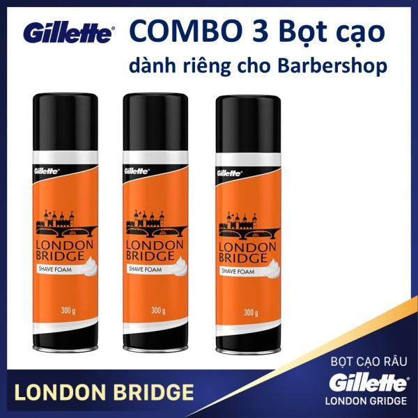 Combo 3 Bọt cạo râu Gillette London Bridge (Cam) dành cho Barbershop 300gX3