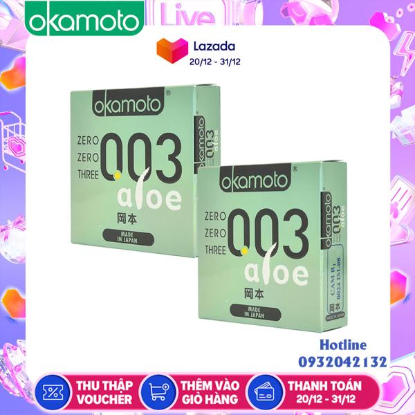 Bao Cao Su Okamoto 0.03 Aloe. Tinh Chất Lô Hội Hộp 3 Cái cao cấp