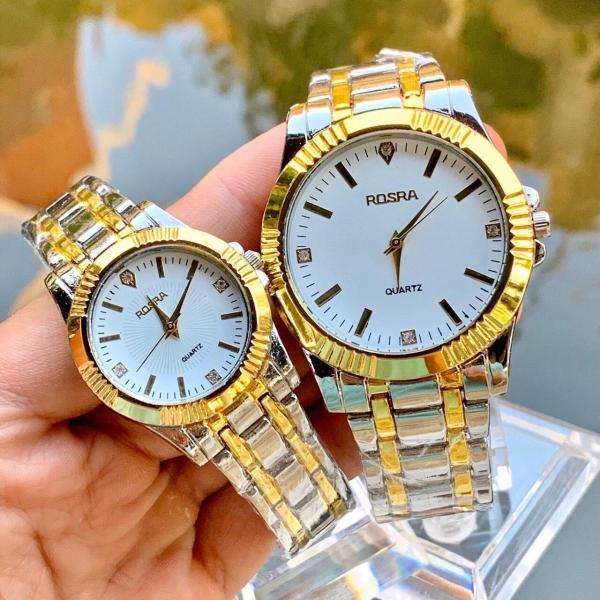 Đồng hồ thời trang nam nữ Rosra dây Demi chỉ vàng mẫu mới tuyệt đẹp SC565