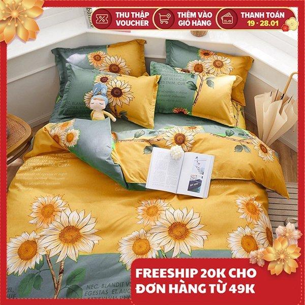 Bộ ga giường và vỏ gối cotton dùng bao bọc ga nệm 1m6x2m và 1m8x2m dùng cho đệm dày 10cm hàng chất lượng an toàn dành cho bé và gia đình