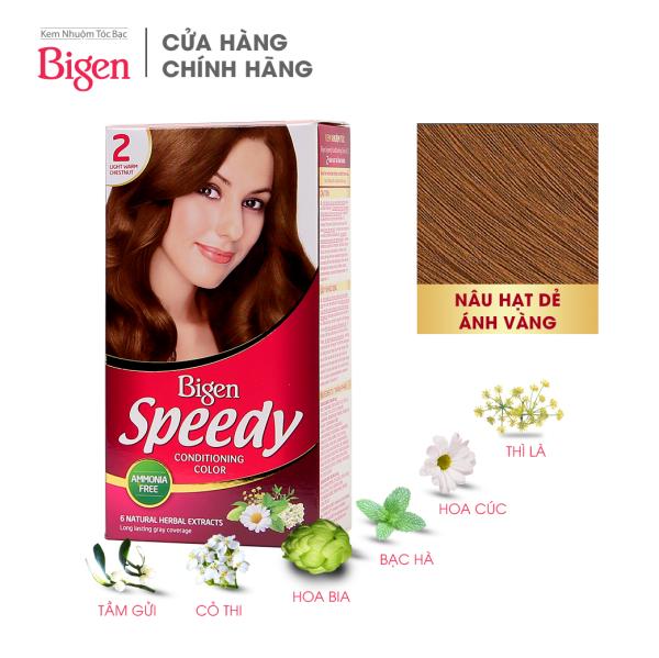 Thuốc nhuộm dưỡng tóc phủ bạc thảo dược Bigen Speedy Thương hiệu Nhật Bản 80ml dạng kem - Nâu Hạt Dẻ Ánh Vàng 2