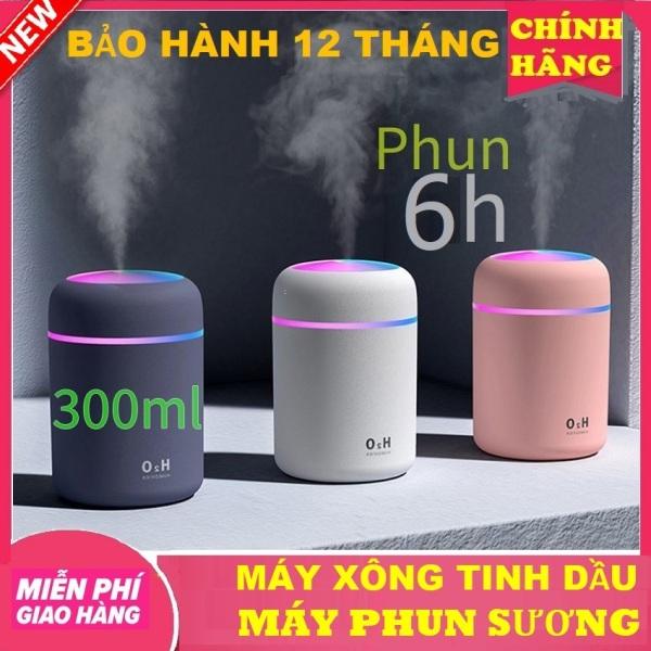 Máy phun sương mini tạo ẩm Kiêm máy xông tinh dầu,khuếch tán tinh dầu làmĐèn Ngủ, có đèn Led nhiều màu dùng sạc USB,phun sương tạo ẩm lọc không khí (Huongviva)