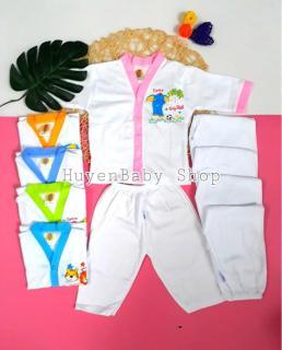 Set 5 bộ quần áo sơ sinh tay dài màu trắng Hello Baby cho bé từ 3-11kg thumbnail