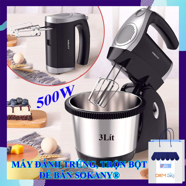 Máy đánh trứng, trộn bột để bàn SOKANY Turbo 500W, chính hãng 5 tốc độ, dung tích 3 lít, máy đánh trứng trộn bột để bàn đa năng bảo hành 1 năm