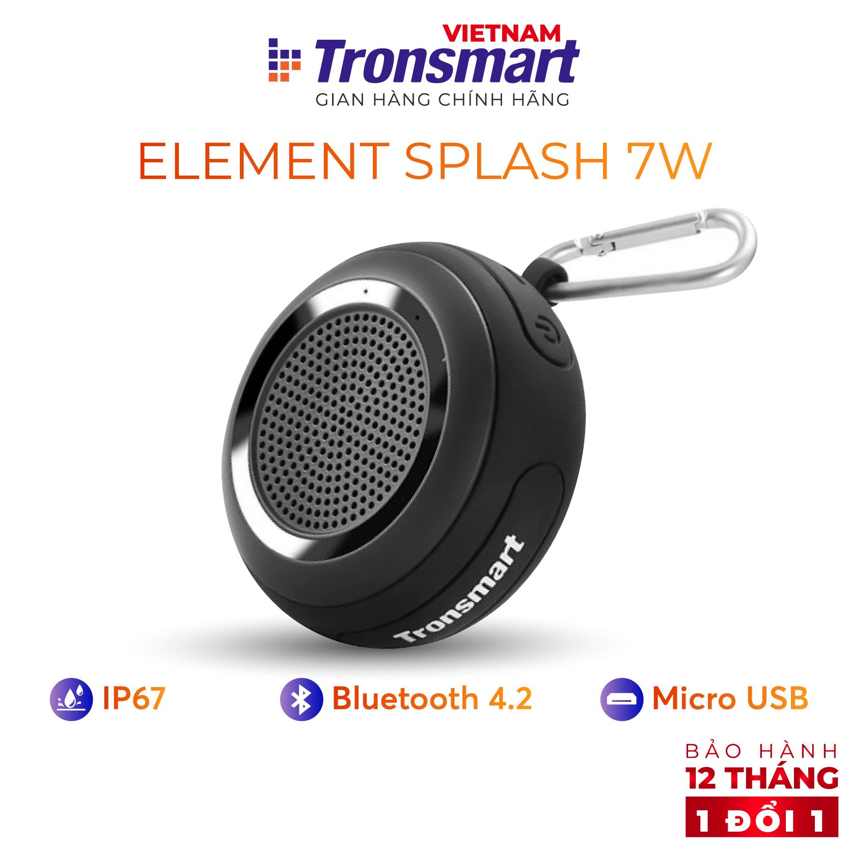 [VOUCHER 7% tối đa 500K] Loa Bluetooth 4.2 Tronsmart Element Splash Âm thanh Vòm 360 Công suất 7W - Hàng chính hãng - Bảo hành 12 tháng 1 đổi 1