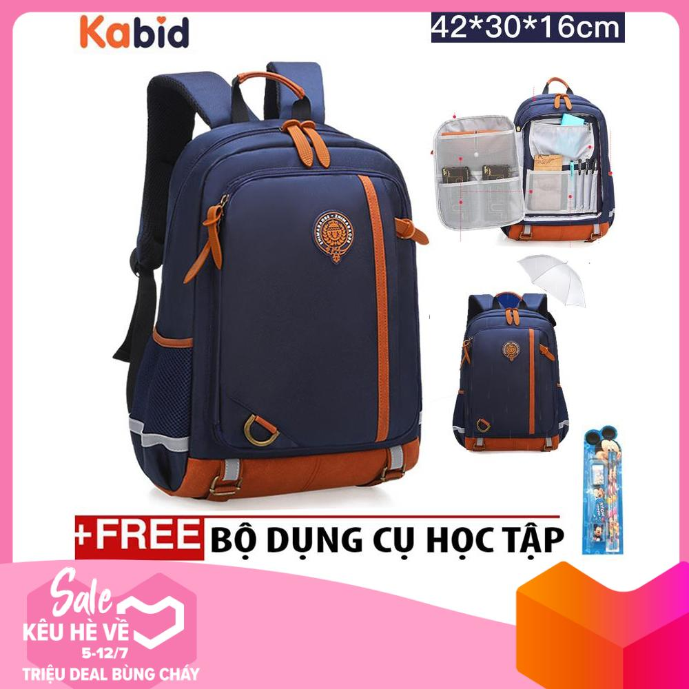 Giá bán Balo chống gù lưng chống thấm phối da mở khóa kiểu vali -  B5180 - Tặng dụng cụ học tập (Size lớp 3-6)