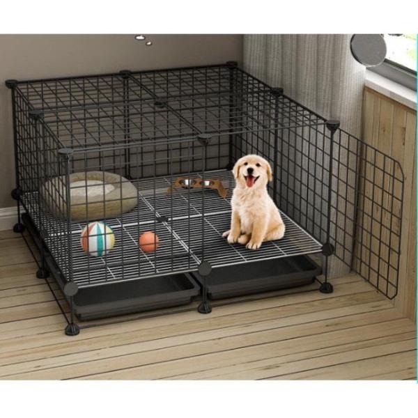 Chuồng chó mèo  thiết kế lưới tĩnh điện đa năng, tiện dụng, dễ dàng lắp ráp và sử dụng  (Tặng kèm khay vệ sinh,chân đế ,chốt nối và búa )