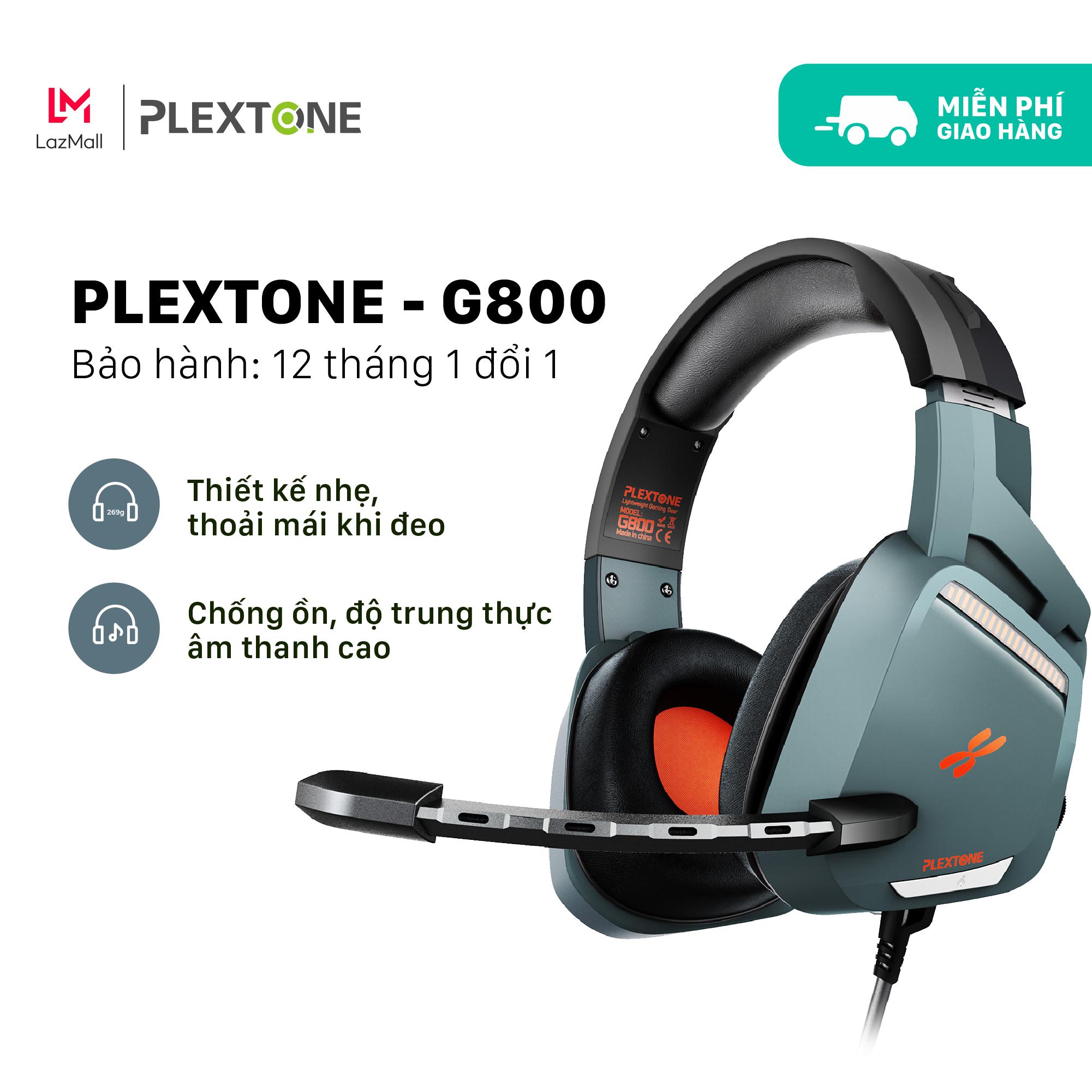 Tai nghe chụp tai gaming dành cho game thủ chuyên nghiệp Plextone G800 thiết kế over ear giúp chống ồn dây dù chống rối kèm mic dùng cho điện thoại laptop pc máy tính dùng jack 3.5mm tặng túi đựng handmade. - Giới hạn 2 sản phẩm/khách hàng