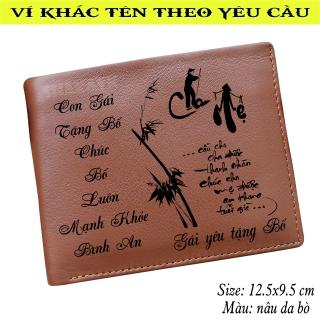 Bóp ví nam da bò xịn 100%, khắc thư pháp thích hợp làm quà tặng cha, quà tặng bố thumbnail