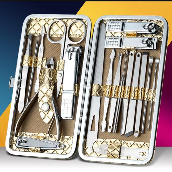 [19 Món] Bộ Kiềm cắt móng tay 19 món thép không gỉ, hộp da vàng đồng dạng ví cầm cầm tay sang trong