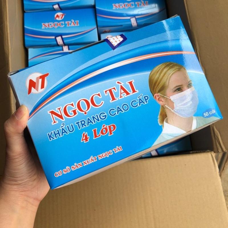 Khẩu trang Y Tế hộp 50 cái 4 lớp kháng khuẩn, vải không dệt, dập LOGO, thơm mùi đặc trưng vải không dệt