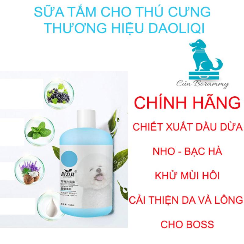 [CHÍNH HÃNG] Sữa tắm cho chó mèo DAOLIQUI chiết xuất dầu dừa loại bỏ vi khuẩn ve bọ chét - Sữa tắm cho thú cưng khử mùi hôi dưỡng lông mềm mại- loại 510ml