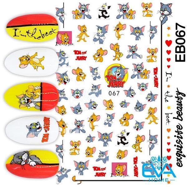 Miếng Dán Móng Tay 3D Nail Sticker Tráng Trí Hoạ Tiết Hoạt Hình Mèo Tom Và Chuột Jerry EB067 giá rẻ