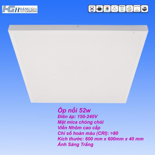 Đèn Led Panel Ốp Nổi 52W 600x600mm
