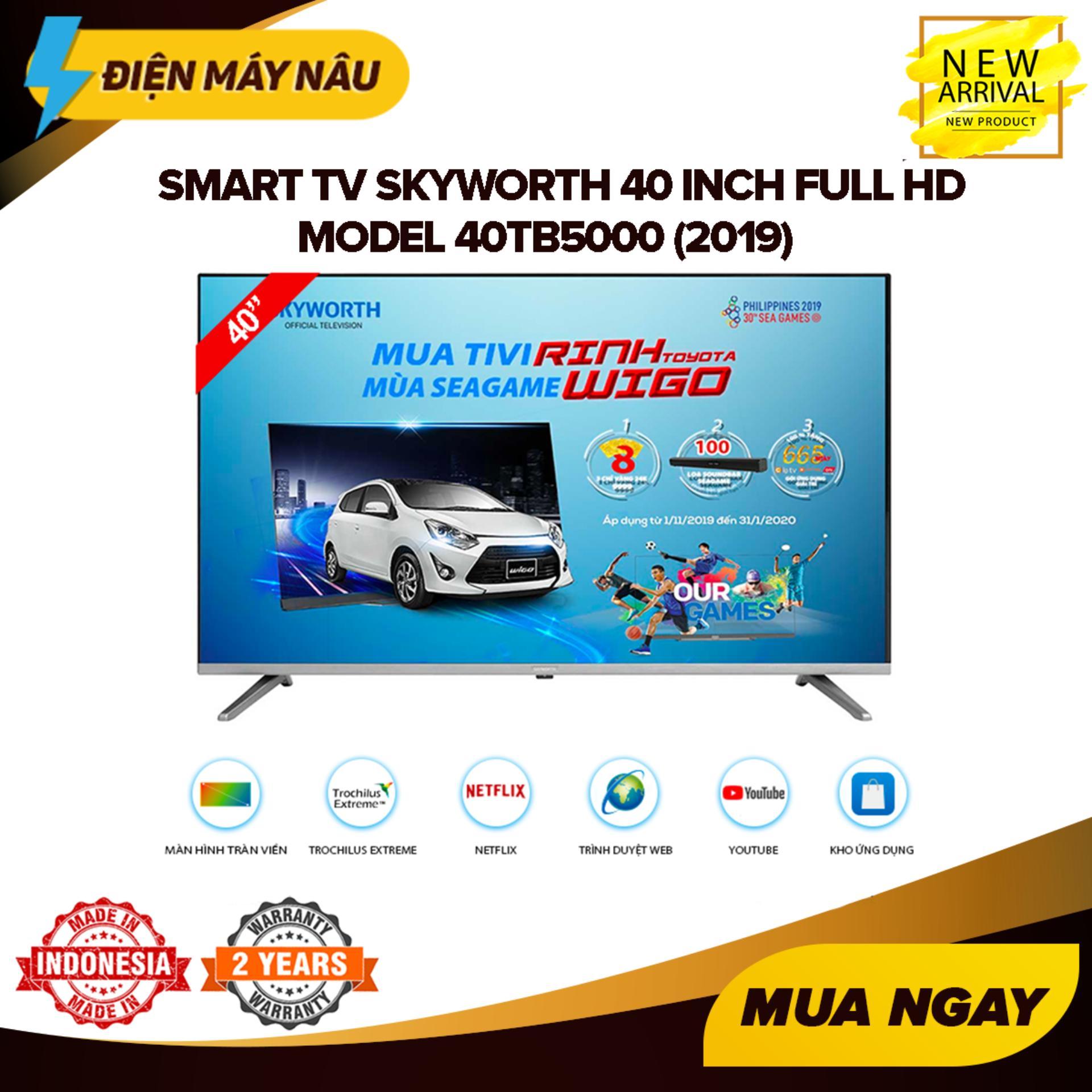 Smart TV Skyworth 40 inch Full HD - Model 40TB5000 (2019) Tràn viền, Hễ điều hành Lunix, Youtube, Kết nối với điện thoại - Bảo Hành 2 Năm