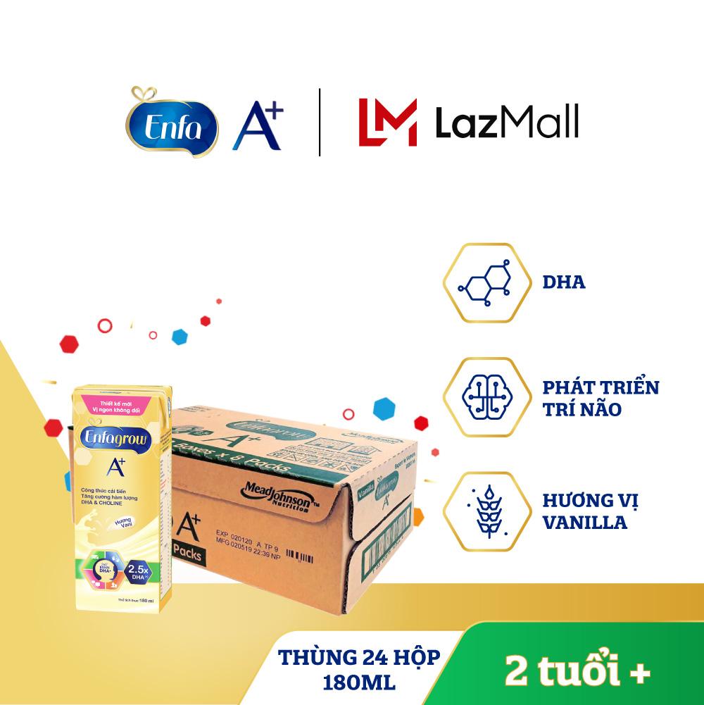 Thùng 24 hộp sữa nước Enfagrow A+ 4 vị Vani 180ml cho trẻ trên 2 tuổi