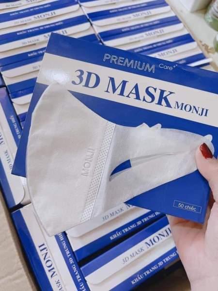 Khẩu trang 3D Mask MONJI hộp 50 cái kháng khuẩn, có logo tem niêm phong, đạt tiêu chuẩn ISO và kiểm định Bộ Y Tế