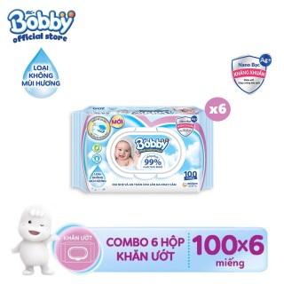 Bộ 6 gói khăn giấy ướt trẻ em Bobby Care Nano Bạc Kháng Khuẩn không mùi hương 100 miếng thumbnail