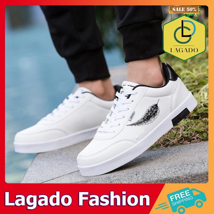 Giày nam màu trắng họa tiết lông vũ màu đen và màu xanh, giày thể thao nam phong cách trẻ trung nổi bật , giày sneaker nam phù hợp mọi đối tượng