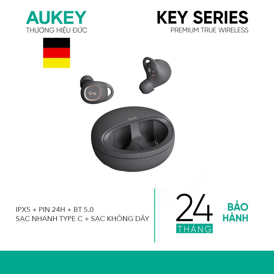 Tai Nghe True Wireless AUKEY EP-T10, BT 5.0, Xoay 360 Độ, Chống Nước IPX5, Pin Tới 24H