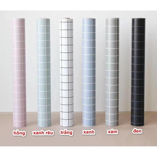 [HCM]Cuộn 5M x 45cm rộng decal giấy dán tường (có sẵn keo) ô vuông kẻ NT222