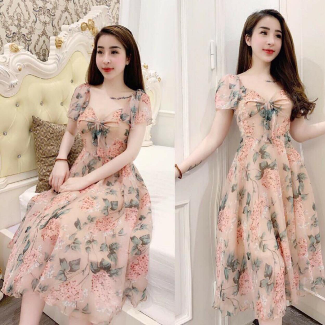 Đầm Nữ Dự Tiệc Voan Hoa Thời Thượng Phong Cách Thời Trang LANABI Giảm Giá Khủng