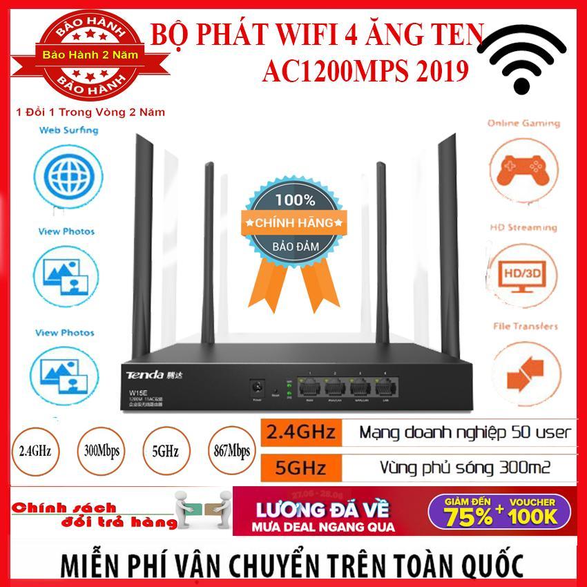 Phát Wifibộ Phát Wifi W15E 4 Ăng-Ten Ac1200Mps Mạng Doanh Nghiệp 50 User 2019 Cực Mạnh Phủ Sóng Lên Đến 300M2 - Bảo Hành 12 Tháng Toàn Quốc