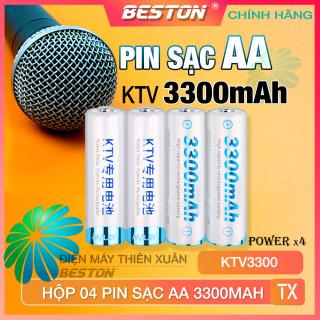 Pin Sạc AA Beston 3300mAh Cho Micro Karaoke loa, đồ chơi trẻ em, đồng hồ, thiết bị điện tử, đèn flash, pin máy ảnh, xe điều khiển, đèn pin siêu sáng, loa kẹo kéo, pin sạc KTV3300 dung lượng cao thumbnail