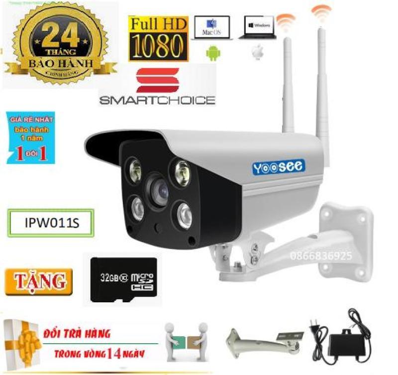( Tặng Thẻ Nhớ 32GB Chuyên Dụng Cho Camera Bảo Hành Cả Thẻ + 01 Dàn Đỡ Trị Giá 300k -BH 2 năm-1 Đổi 1 Trong 14 Ngày)Camera Wifi Yoosee ngoài trời trong nhà+ YooseeIPW011-2.0Mpx-Full HD 1920X1080P-hỗ trợ 2 đèn hồng ngoại và 2 đèn LED xem đêm có Màu C�