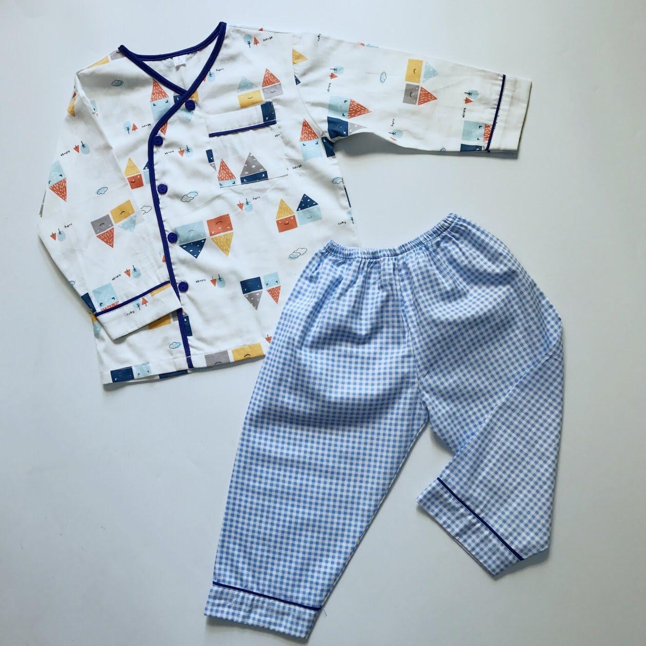 Pijama vải cotton hình Nhà caro 10-40kg Nhật Bản