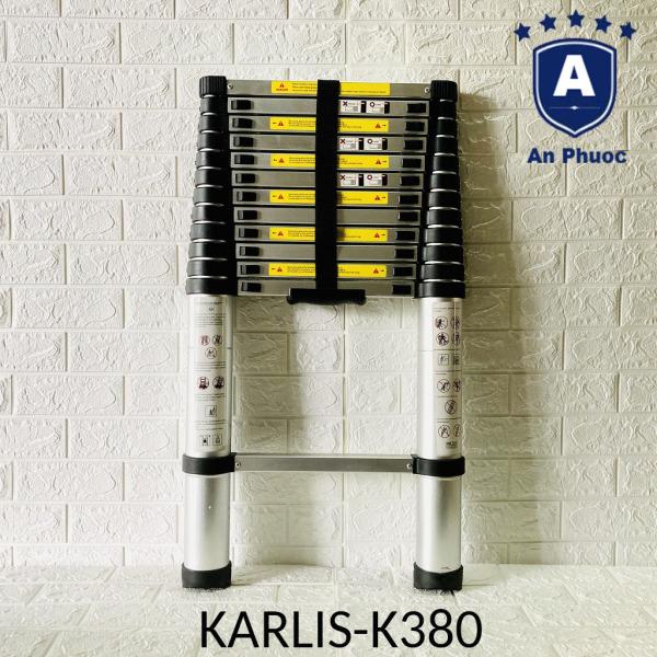 Thang Nhôm Rút Đơn Karlis K380 | Chiều Cao3m8 | Chịu Tải 150kg | Chống trượt nút khóa chắc an toàn