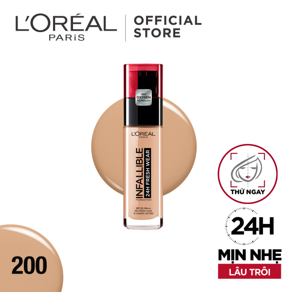 Kem nền mịn nhẹ lâu trôi Loreal Paris Infallible 24h Fresh Wear Liquid Foundation 30ml