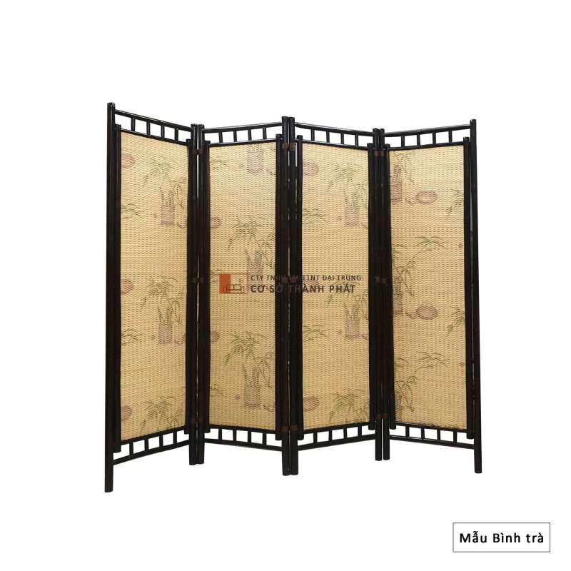 Bình phong tre khung nâu sơn PU, sơn bóng 4 cánh Đại Trung mẫu bình trà 1m75 x 0.5m