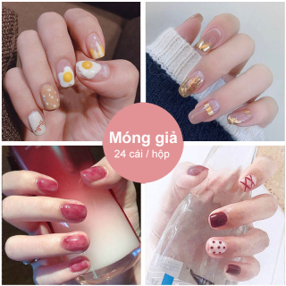 ANYAR-Hộp 24 Móng tay giả Chứa keo ,Năm phong cách chọn móng tay giả nail giả , móng giả A8 ( Sản phẩm đã có sẳn keo ) thumbnail