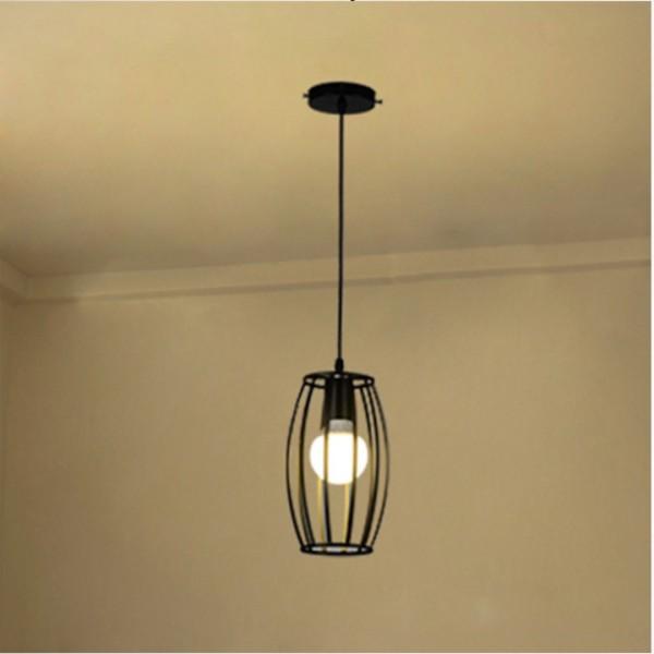 Đèn thả: Mẫu đèn trang trí nghệ thuật lồng sắt hình trụ bóng led