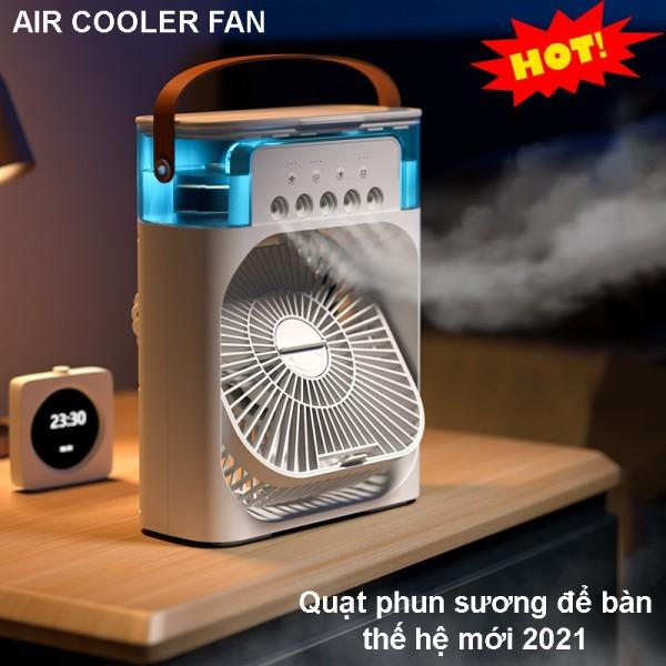 Quạt Điều Hòa Hơi Nước Để Bàn AIR COOLER FAN Với 3 Chế Độ Làm Mát, 5 Vòi Phun Sương, 7 Chế Độ Đèn LED, Dung Tích 600ml