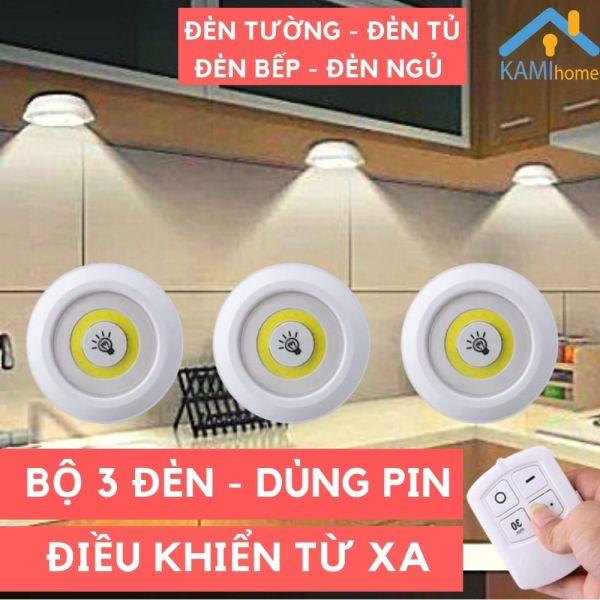 Bộ 3 đèn LED tròn có điều khiển dùng cho trang trí phòng ngủ cầu thang tủ bếp tủ quần áo mã 37000